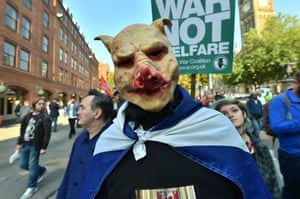 Demonstrators on the TUC anti-austerity march prepare to march on the Conservative party conference in Manchester