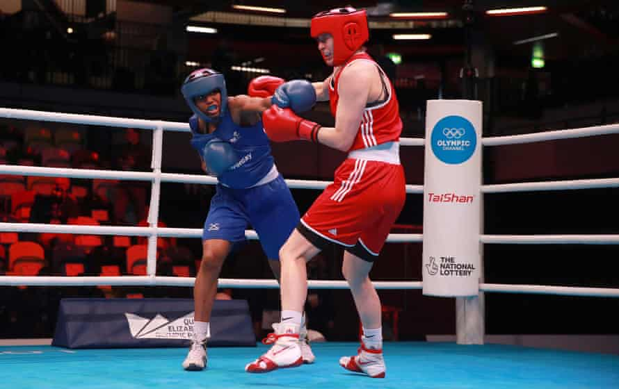 Caroline Dubois on her way to defeating Belarus's Ala Staradub during day one of the Road to Tokyo 2020 Olympic qualifying event at London's Copper Box.