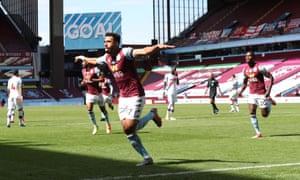 Aston Villa's Mahmoud Trezeguet celebrates his second goal in the 2-0 win against Crystal Palace