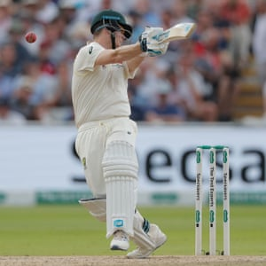 Steve Smith is struck by a short ball from Ben Stokes.