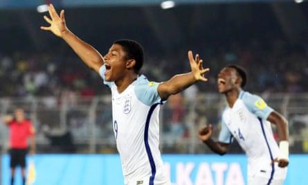 Striker Rhian Brewster celebrates scoring a hattrick in England's 3-1 win against Brazil in the Under-17 World Cup semi final