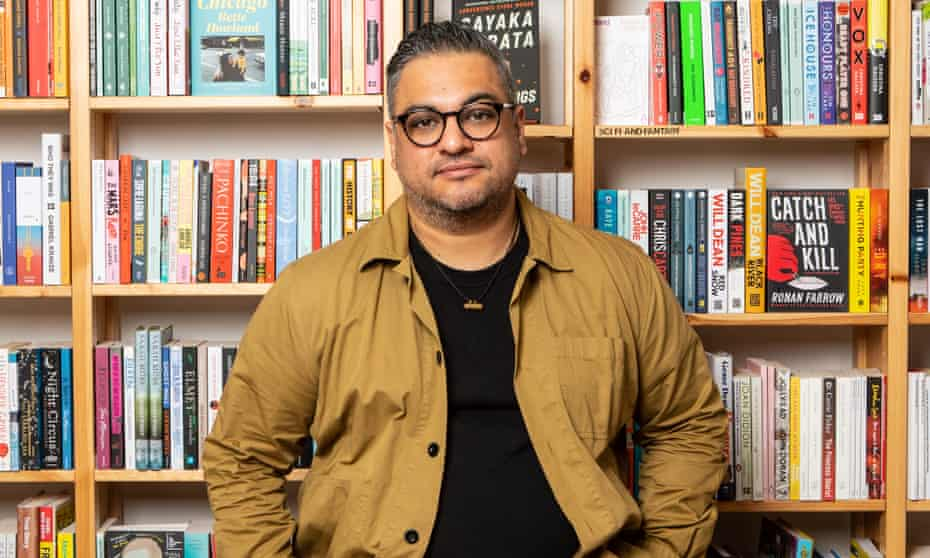 ' I don't believe in the writer as the strong, silent type' … Nikesh Shukla, at the StorySmith Bookshop in Bristol.