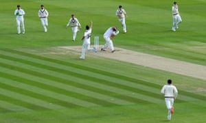 Lewis Gregory of Somerset celebrates the wicket of Nick Browne of Essex.