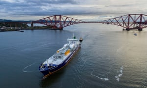 Ineos Insight sails under the Forth Bridge before attempting to dock at Grangemouth.