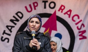 Salma Yaqoob addresses thousands of people on a March Against Racism demonstration in London earlier this year.