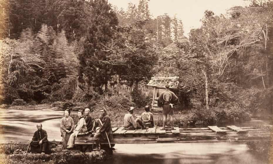 Enjoying a garden in Omia, Japan, c1877.