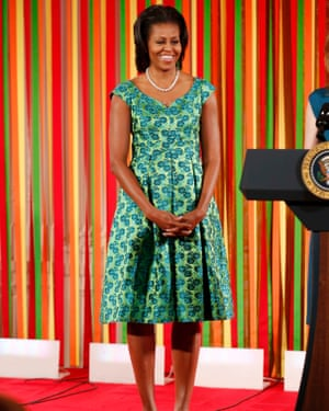 Michelle Obama at the first ever kids' state dinner in the east room at the White House, 20 August 2012.