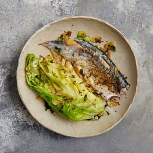 Spiced mackerel and hispi cabbage.