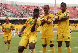 Bassira Touré celebrates after scoring one of her two goals in Mali's 2-1 win over the hosts Ghana during their group stage match.