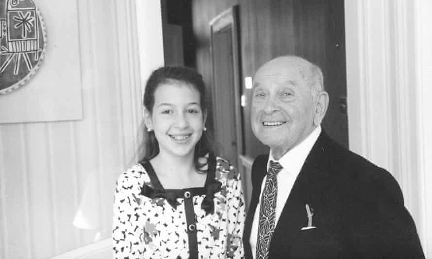 The young Hadley with her great uncle, Alex Maguy.