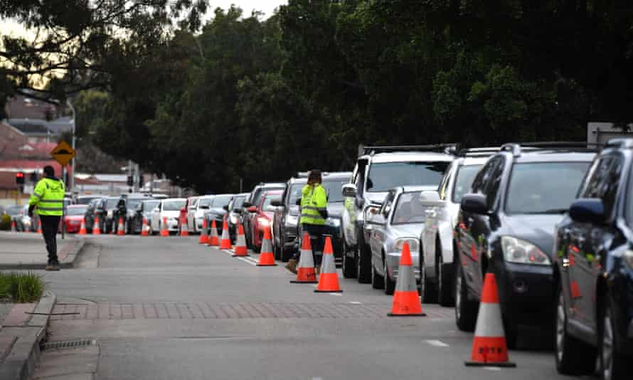 A long line of cars at a Covid-19 testing site  in Fairfield, Sydney