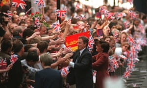 Tony Blair greets the crowds in Downing Street after winning the 1997 general election