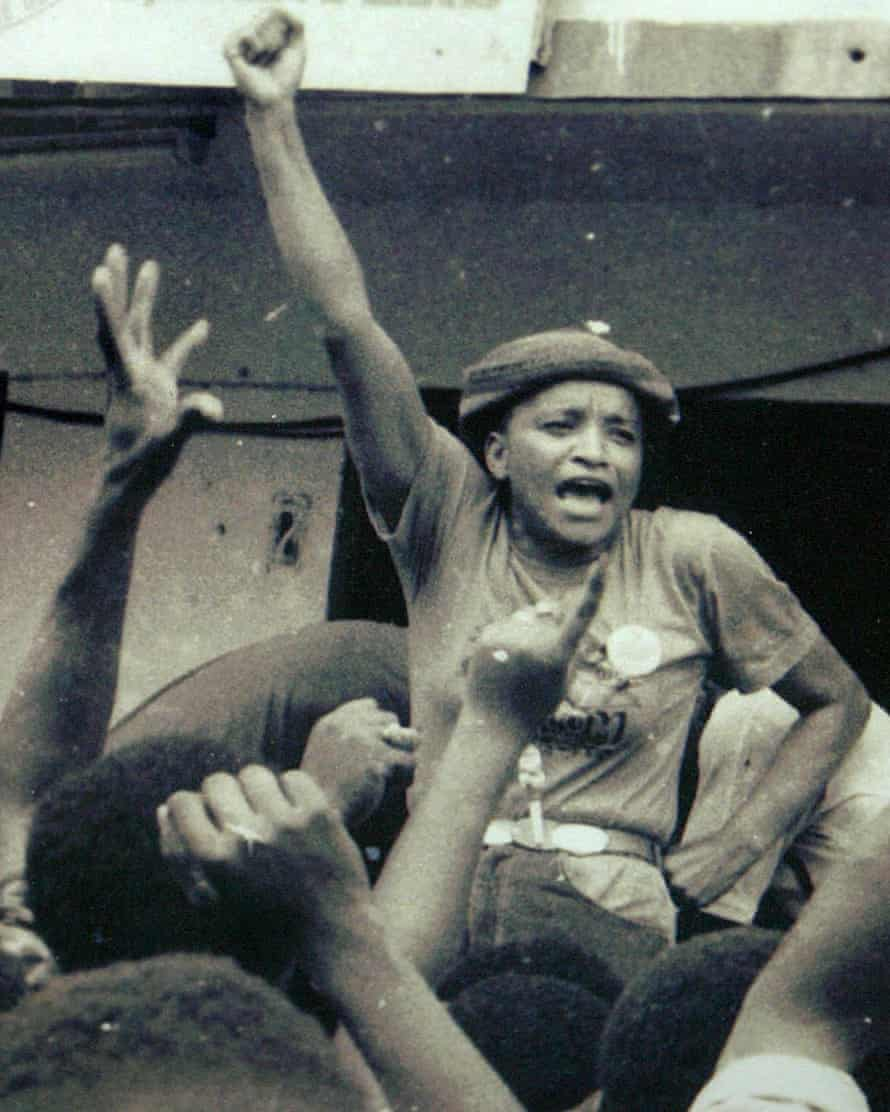 Power to the people: Ellen Johnson Sirleaf addresses supporters after she was released from prison in 1986.