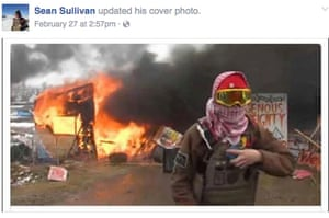 Sean Sullivan says the photo on his Facebook page was taken near a burning structure, but he had nothing to do with the fire.