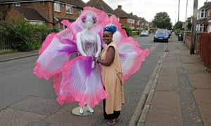 Melissa Simon-Hartman with her Sea Flower costume in Bedford.