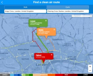 Interactive map to show low-pollution route in london.