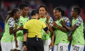 Nigeria's players protest at a critical VAR decision in their Women's World Cup match against France