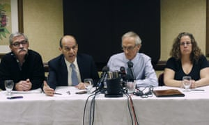 The attorney Mitchell Garabedian, second from left, beside Robert Costello, left, Phil Saviano, and Alexa MacPherson, as they react to the death of Cardinal Bernard Law.