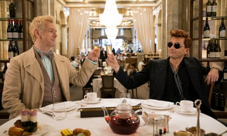 Michael Sheen, left, as Aziraphale and David Tennant as Crowley in Good Omens.