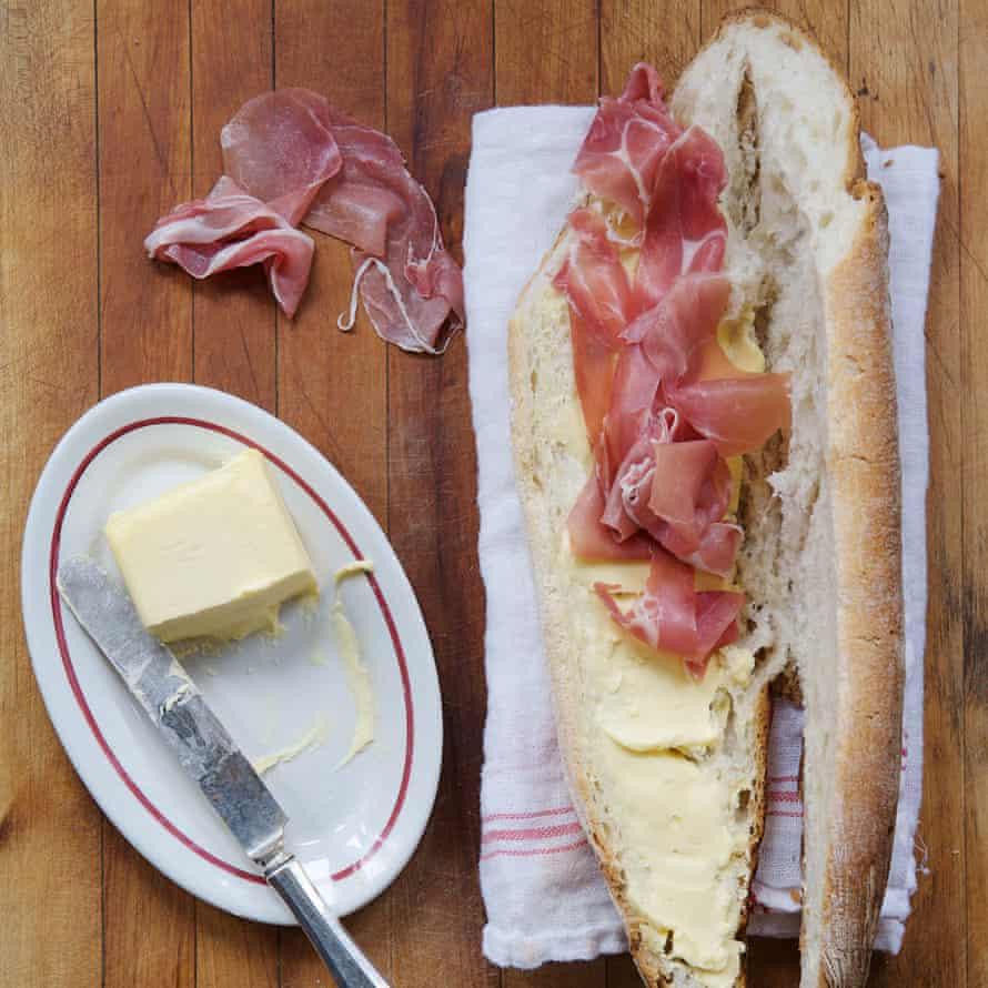 Ham sandwich in a French bar, heart of the artichoke, David Tanis