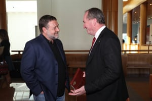 "Actor Russell Crowe meets the deputy prime minister, Barnaby Joyce, at a function where Andrew ""Twiggy"" Forrest announced a $400m philanthropic gift"