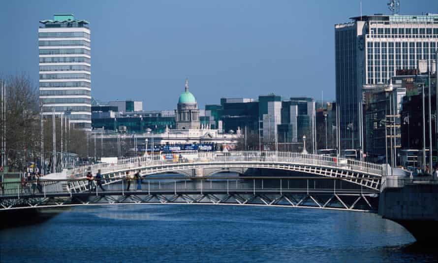 Ha'penny bridge across the River Liffey in Dublin.