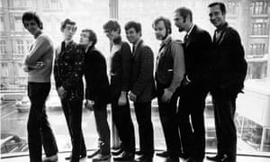 Radio 1 DJs line up before launching at Broadcasting House: Pete Drummond, Dave Cash, Kenny Everett, David Ryder, Tony Blackburn, John Peel, Mike Raven, Duncan Johnson. Annie Nightingale became the first female DJ on Radio 1 in 1970. GNM Archive ref: OBS/6/9/2/1/R.