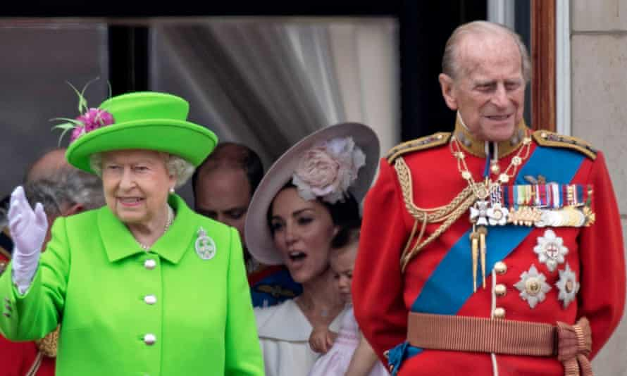Members of the British royal family join the Queen for the trooping the colour ceremony to mark her 90th birthday in June 2016.