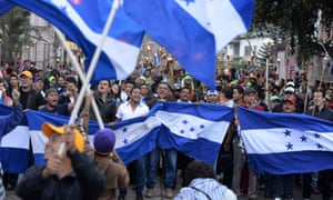 Honduran demonstrators march in protest against the alleged corruption in the government of President Juan Orlando Hernández and demanding the creation of an international commission against impunity.