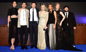 Left to right: Katherine Waterston, Ezra Miller, Eddie Redmayne, JK Rowling, Carmen Ejogo, Alison Sudol and Dan Fogler at the premiere at Leicester Square.