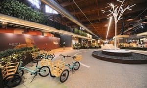 Shoppers can use tricycles to get around the food hall.