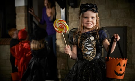 Girl in Halloween witch costume