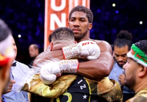 Andy Ruiz Jr and Anthony Joshua embrace after the fight.