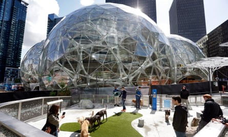Amazon employees and their dogs enjoy a canine play area next to Amazon's Seattle headquarters. The company has received 238 proposals for the site of HQ2.