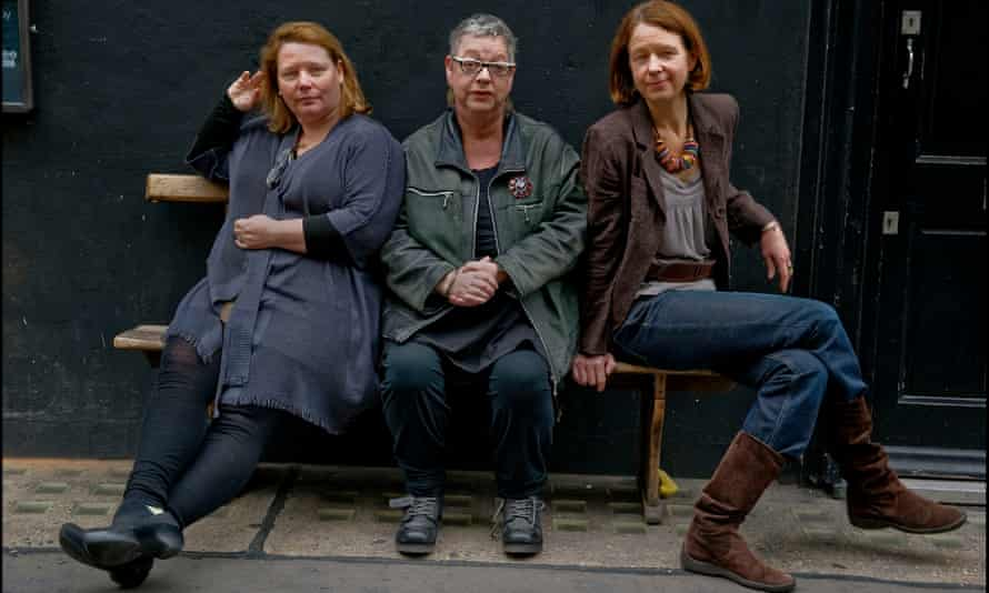 Jo Scanlan, Jo Brand and Vicki Pepperdine of the BBC comedy series Getting On, in which Pepperdine's character, Dr Moore, calls everyone 'gents'.