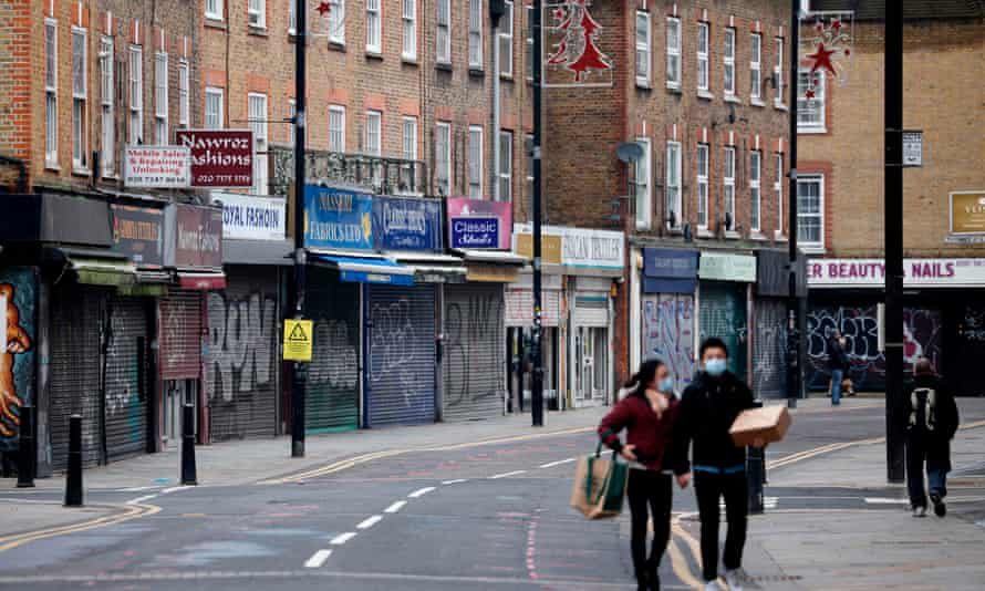 A near-deserted street in the City of London