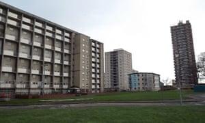 Rear view of Pennywell flats in Muirhouse, Edinburgh