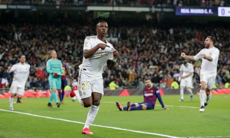 Vinícius Junior celebrates after his first Real Madrid goal in the league since September pt Real Madrid on course for their first clásico victory in 1,954 days.