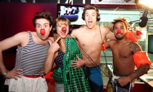Greg James (third from left) with fellow radio stars Nick Grimshaw, Sara Cox and Dev Griffin during Radio 1's Red Nose Day challenge, 2013.