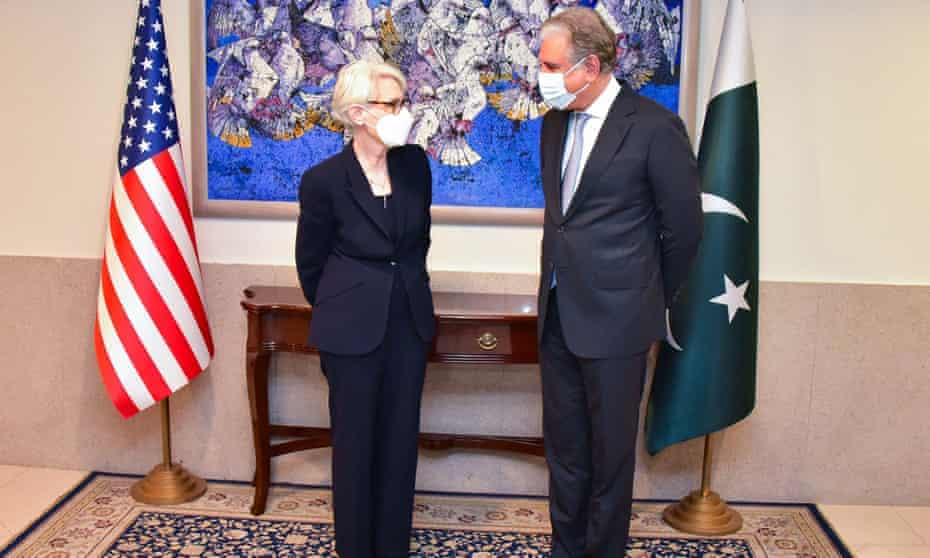 The US deputy secretary of state, Wendy Sherman, meets Pakistan's foreign minister Shah Mahmood Qureshi in Islamabad.