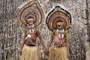 Donald MacdonaldTwo pre-adolescent boys from the Abelam tribe in Papua New Guinea dressed for a yam spirit ritual.