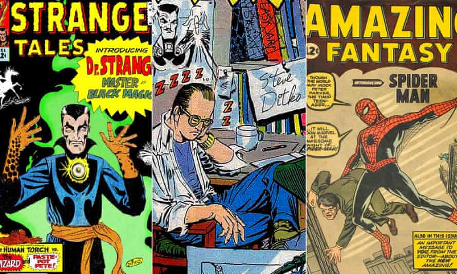 A self-portrait of Steve Ditko flanked by his work.