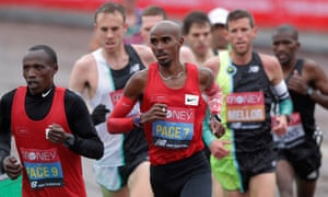 Mo Farah, pictured pacemaking during the London Marathon this month, is reported to have accepted a £300,000 fee to appear on the ITV reality show.