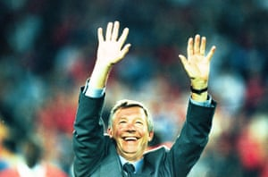 Manchester United v Bayern Munich. 1999 European Cup Final, Barcelona. Alex Ferguson celebrating victory
