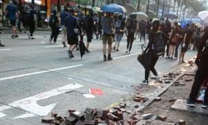 Paving stones dug up in Hong Kong