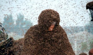 Beekeeper Gao Bingguo during his succesful record breaking attempt in which he was covered with one million bees