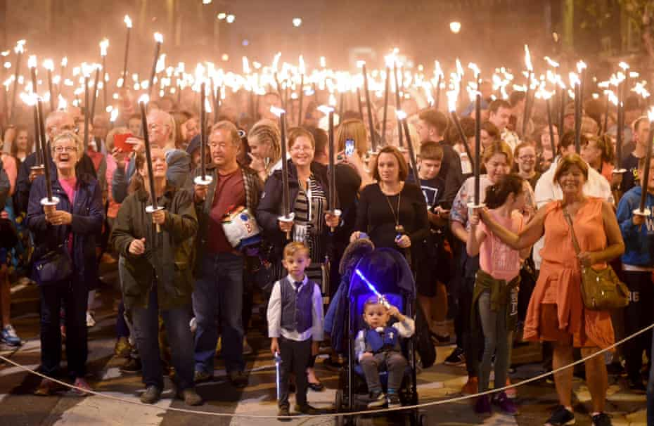 Bridport's famous torchlight procession marks the end of the carnival weekend.