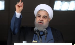 President Hassan Rouhani addresses a crowd in the city of Alborz.