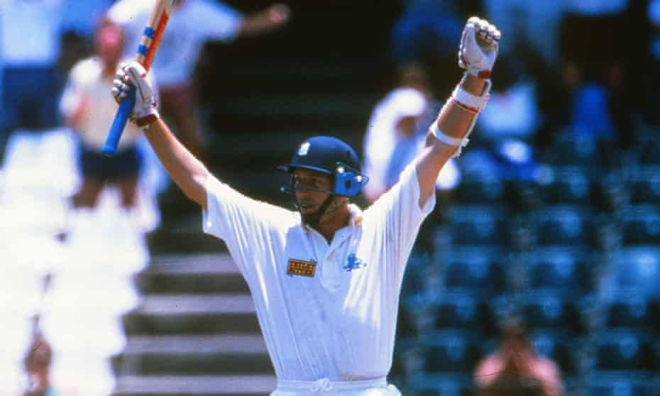 Cricket's Mark Darcy … Michael Atherton celebrates his century at the New Wanderers Stadium, Johannesburg in 1995