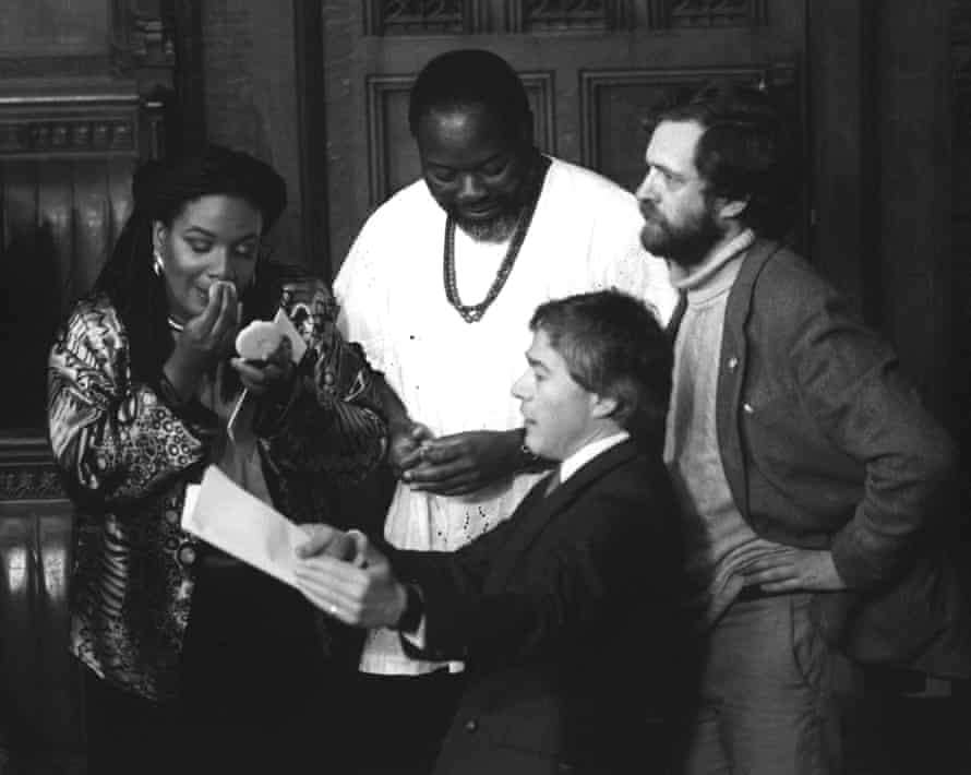 Diane Abbott with Bernie Grant (top), Jeremy Corbyn (right) and Tony Banks (bottom) at the opening of parliament in 1987
